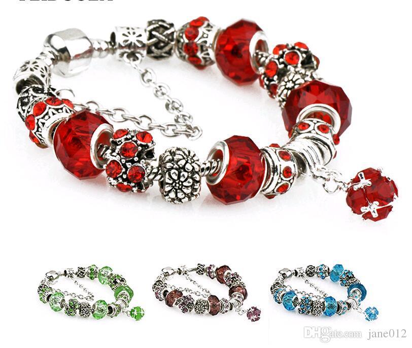 Il nuovo braccialetto di fascini di stile europeo borda i braccialetti di marca d'annata placcati argento diy blu 17mm 18mm-20mm all'ingrosso di lunghezza