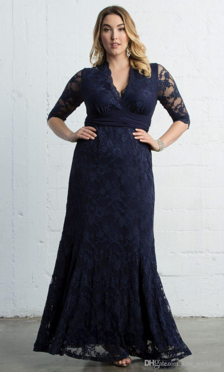 04d359aeabac Vintage Lace Plus Size Mother Of The Bride Dress Dark Blue 1 2 Sleeves Long  Party Evening Gowns Formal Guest Dresses Sheath Mermaid Mother Bridal Dress  ...