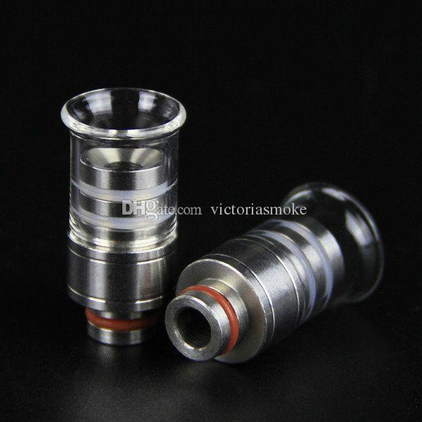 Hot E Cigarette Pyrex Glass 510 Wide Bore Drip Tips Stainless Steel Mouthpiece For Plume Veil Shield RDA RBA Vaporizer Tank 510 eCigs Drips