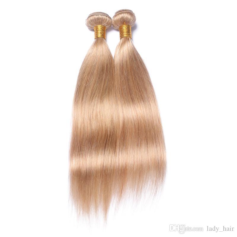 페루 허니 금발 인간의 머리카락 부드러운 스트레이트 헤어 번들 거래 # 27 Strawbery Blonde 페루 인간의 머리카락 직물 확장