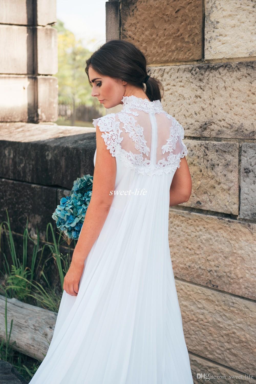 Vestidos de boda de maternidad del país Imperio Cintura Apliques Encaje Piso longitud gasa 2019 vestidos de novia embarazadas al aire libre Vestido A-Line barato