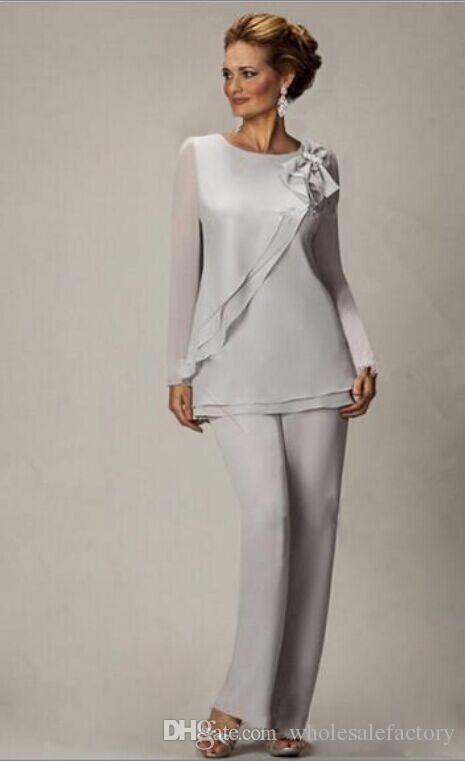 Elegante Plus Size Silber Mutter Hosenanzug Für Mutter der Braut Bräutigam Perlen Chiffon Hochzeit Abendkleider Abendkleid BA2466