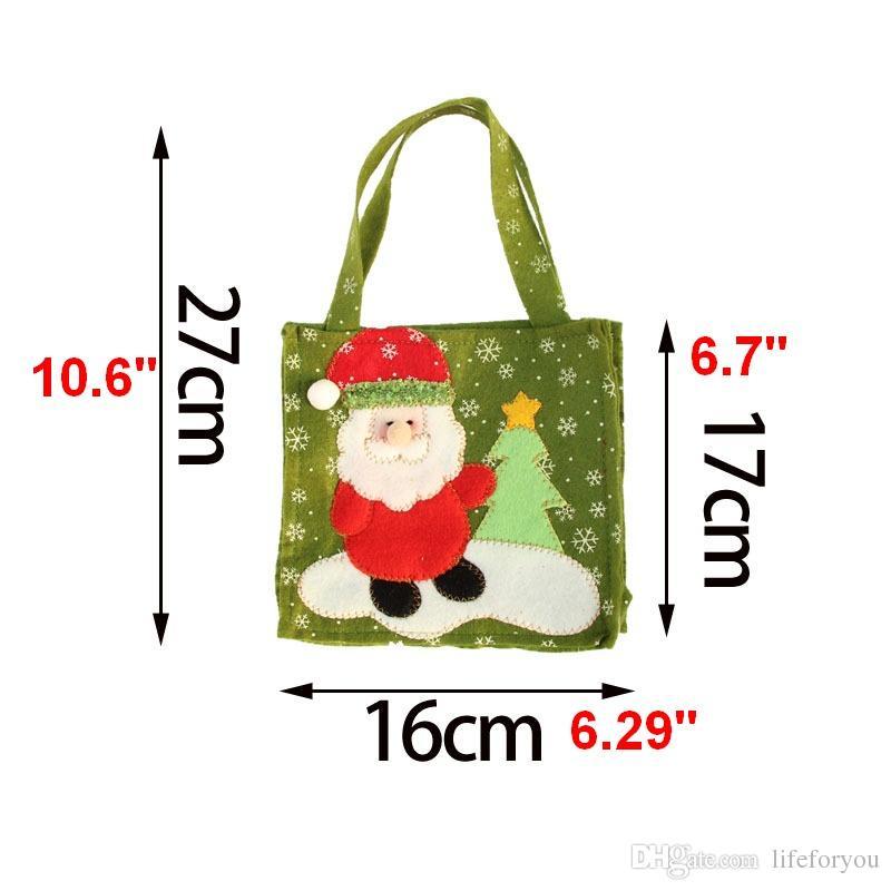 Regalo natalizio Borse oggetti di scena Calda Santa pupazzo di neve Babbo natale sacchetti di caramelle Articoli natalizi Sacchi Borse, 4 Articoli a scelta