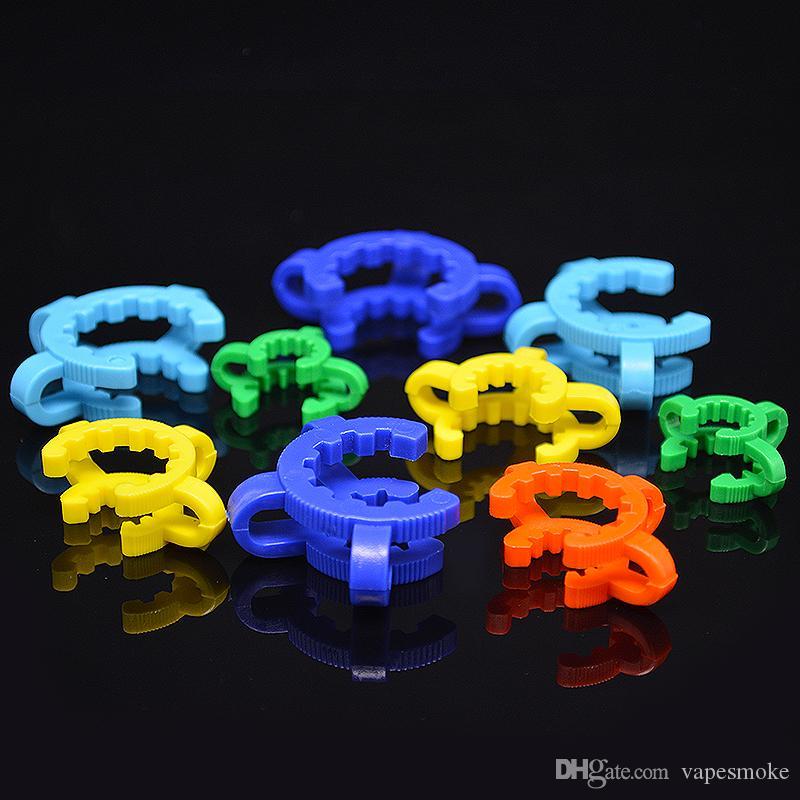 10/14 / 19mm articulación Keck Clip de plástico con color amarillo Plástico Keck Laboratorio / Lab Clamp Clip para vidrio Bong Adaptador de vidrio Colector