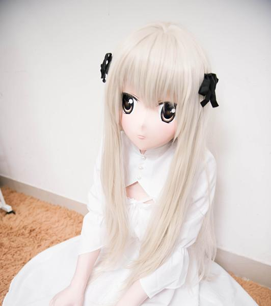 (C2-045)Top Quality Handmade Female Silicone Rubber Face Mask Cosplay Kigurumi Masks Crossdresser Doll Kig Anime Role Play