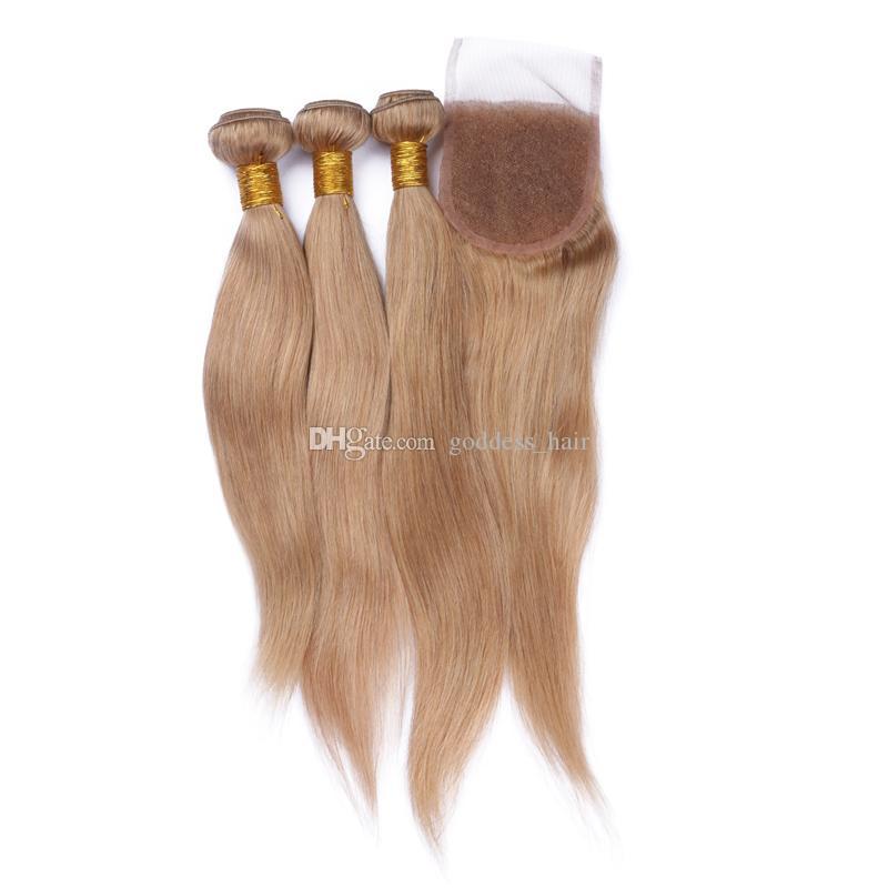 Venta caliente pelo humano recto 3 paquetes con cierre de encaje Miel rubia # 27 cabello teje con cierre de encaje 4x4 pieza gratis para mujer