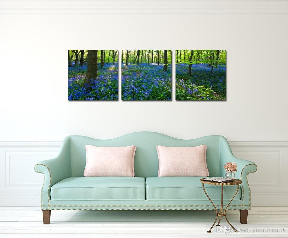 Triptych Forest Canvas Prints Wall Art Stretched Modern Decor Paintings Purple Flowers Picture Giclee Artwork for Living Room \set