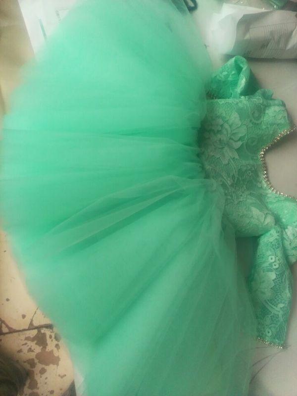 Encantador niño niña de flores vestidos turquesa encaje superior cristales ilusión manga larga Puffy tul vestido corto Flowergirl para bodas