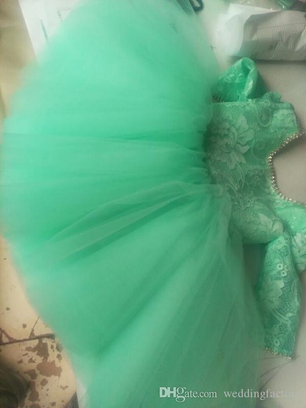 Schöne Kleinkind Blumenmädchen Kleider Türkis Spitze Top Kristalle Illusion Langarm Puffy Tüll Kurzes Flowergirl Kleid für Hochzeiten