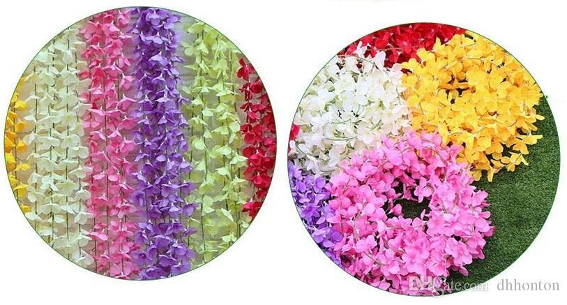 Düğün parti iyilik Yapay çiçekler Için 1.8 M Ipek Çiçekler Uzun Wisteria Vine Rattan Düğün ev Noel süslemeleri HW010
