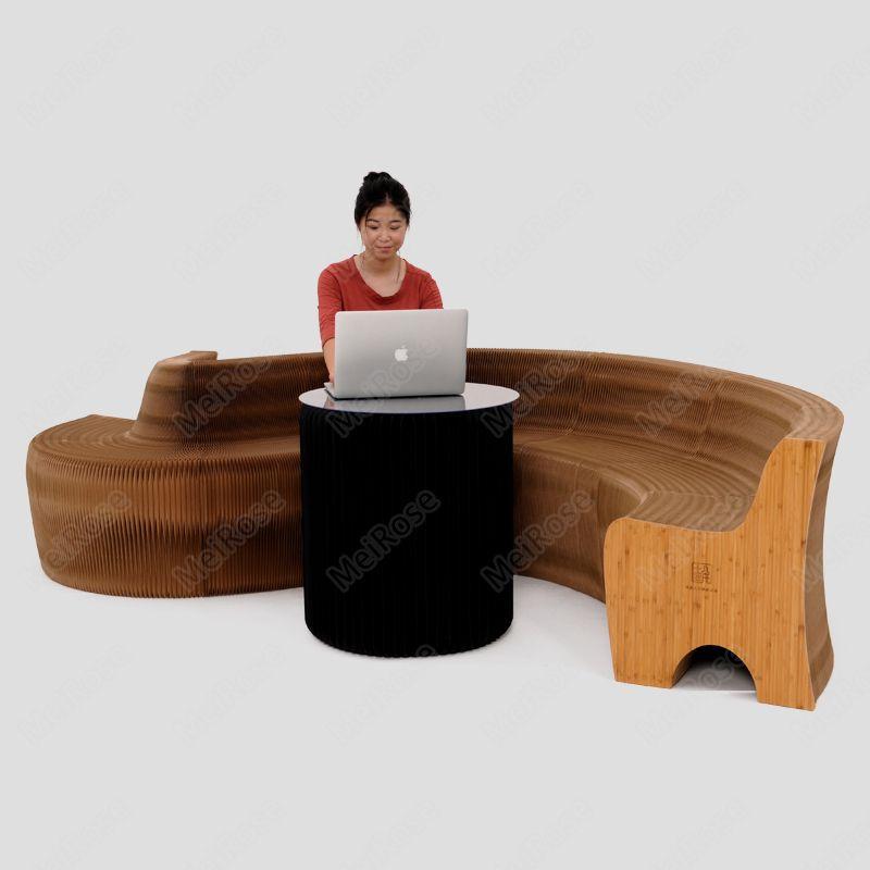 H65xL600cm Novel Inovação Furniture Pop - Bench Inteligente interior Universal Waterproof acordeão estilo dobrável Kraft Sofá 9 lugares primárias