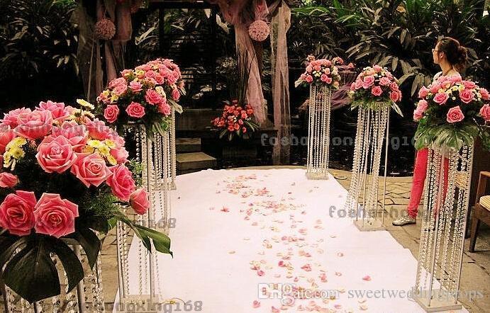 유럽 100cm 크리스탈 웨딩 장식 스틸 프레임 테이블 스탠드 candelabra 중심 장식 도로 리드 프레임 꽃을 포함하지 않음