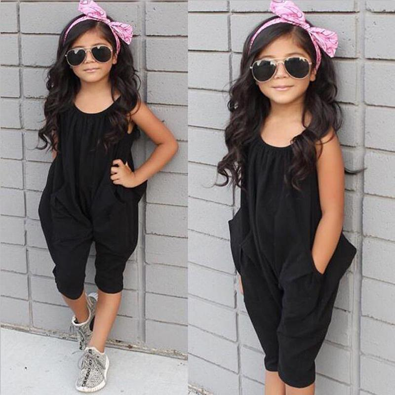 57d47e41d78 2019 Girls Summer Black Jumpsuits Children Girls Clothing New Arrival  Rompers For Children Girl Clothes From Yokilan