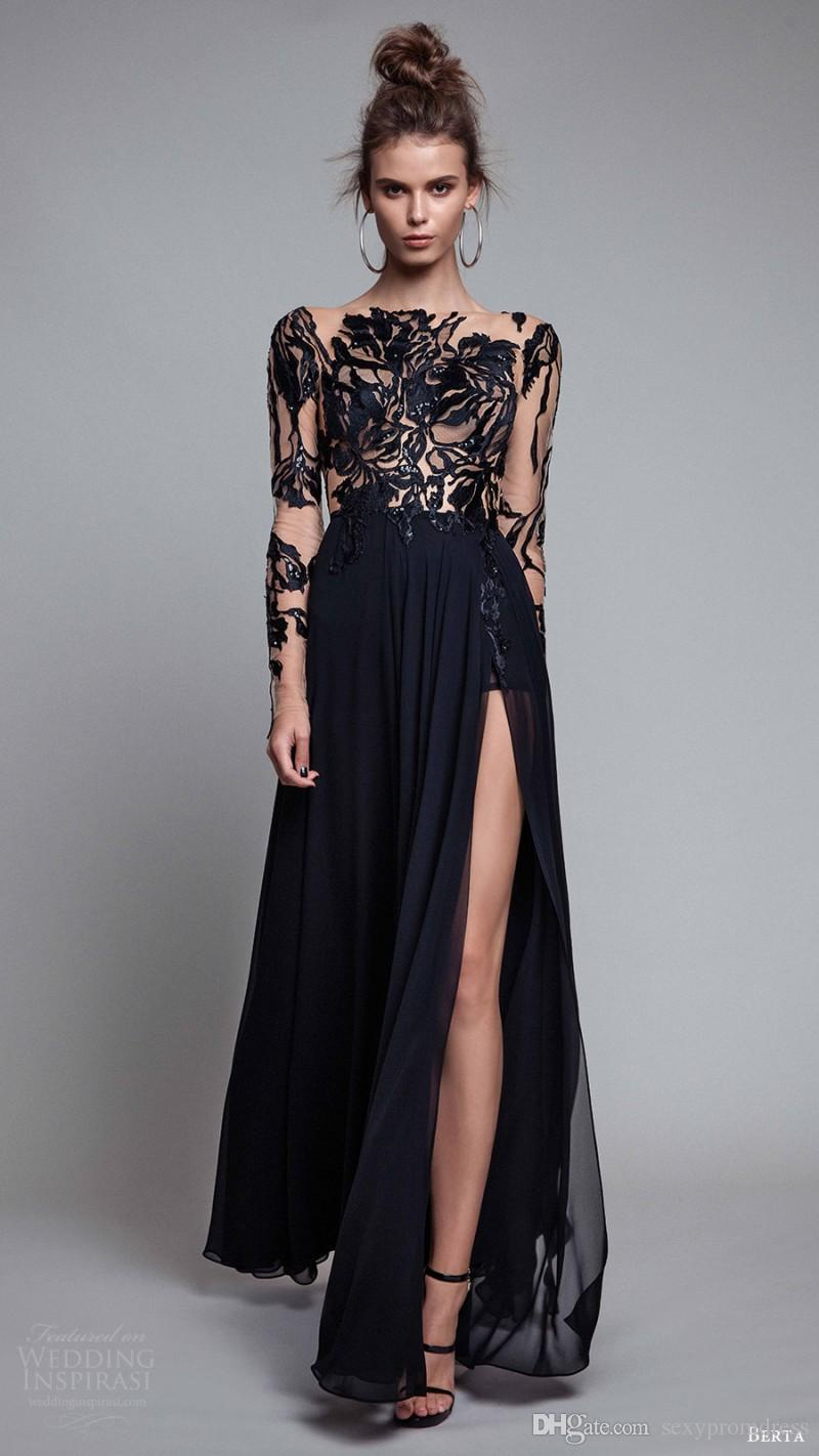 Elegant Black Lace Applique Evening Dresses With Illusion Long Sleeve 2017 Chiffon Floor Length Side Split Prom Dresses Formal Party Dresse