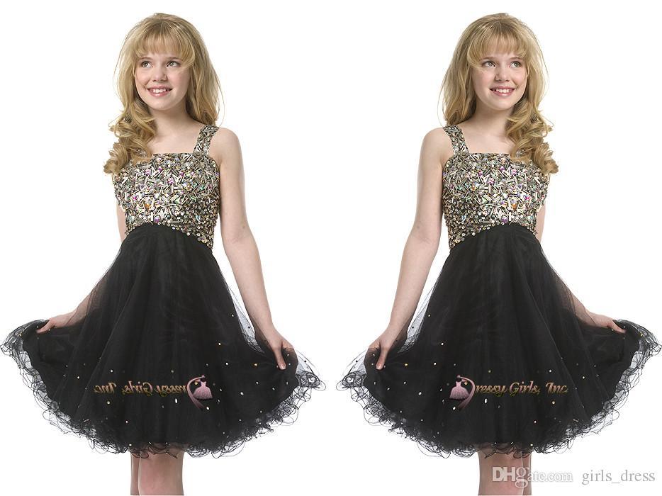 Pcincess Black Girl Festzug Kleid Straps Beadings kurze Kinder Ballkleider für Hochzeit Geburtstag Geschenke knielangen Kid Kleider