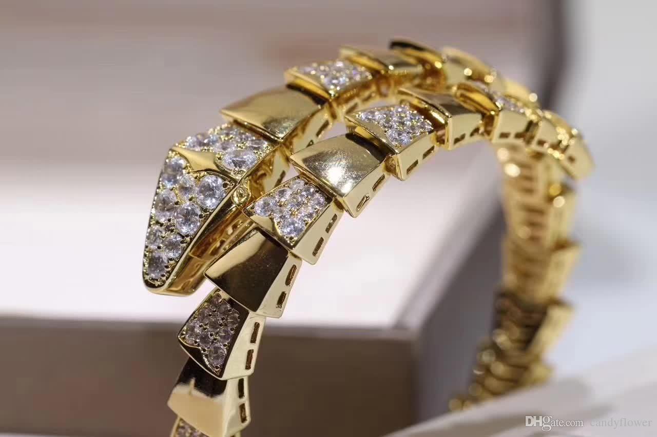 Мода эластичный змейка CZ алмаз браслет-манжета браслет дизайнер медь ювелирные изделия 18 К позолоченные для женщин