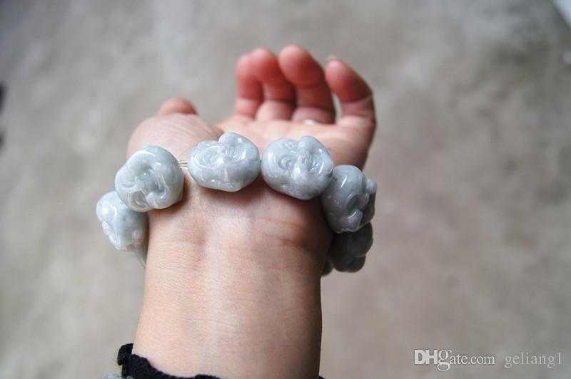 Ручной резьбой нефрит Будда, резинкой строки в браслет. Фаворит успешного мужчины