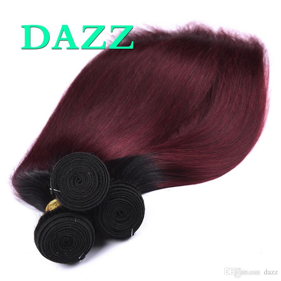 Peruanisches reines Haar gerade 4 Bundles Angebote seidig gerade 2 Ton Ombre Farbe 1B 99J gefärbt gebleicht Weave Human Hair Extensions Burgund