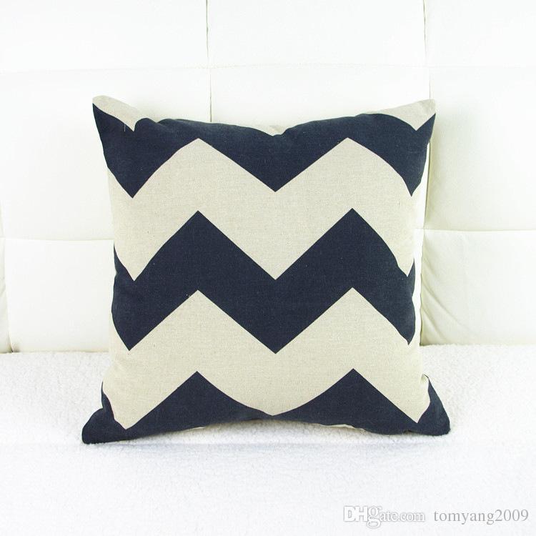 Vintga Style Signature Funda de cojín de algodón de moda funda de almohada de almohada breve para uso en automóviles y en el hogar Impresión geométrica 42 * 42 cm almohada de lino