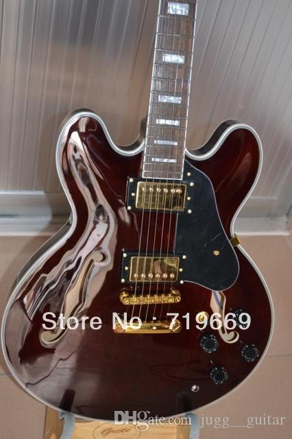 Custom Shop Classic 335 Semi Hollow Wine Red Brown Crimson Jazz Electric Guitar White MOP Block Fretboard Inlay Gold Tailpiece Tuilp Tuners