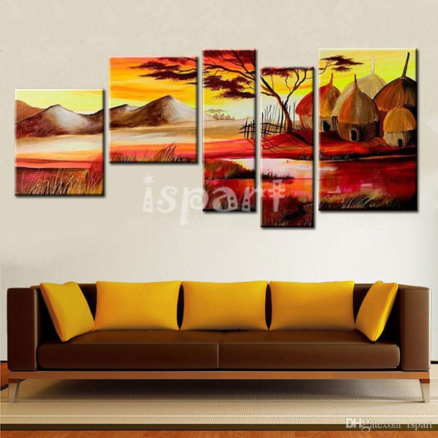 2018 5 panel wall art irregular africa painting handmade oil see larger image amipublicfo Image collections