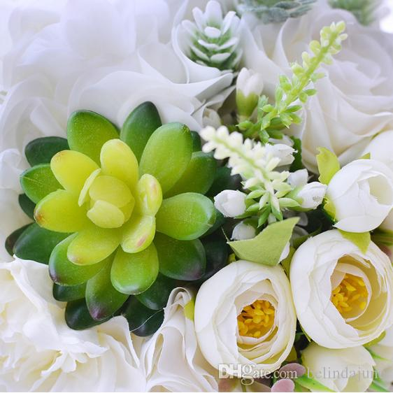 New Design Beautiful Flowers Holding White Rose Formal Bridal Bouquets Wedding Suppliers Bridesmaids Holding Flowers 2017