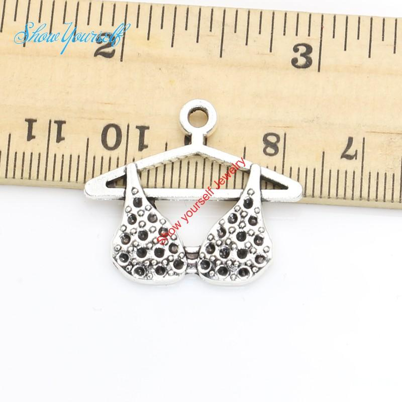 10pcs/lot Antique Silver Plated Clothes Bra Charms Pendants Necklace Bracelets for Jewelry Making DIY Handmade Craft 24x27mm