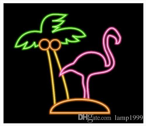 2019 Brand New Flamingos Palm Tree Glass Neon Sign Beer