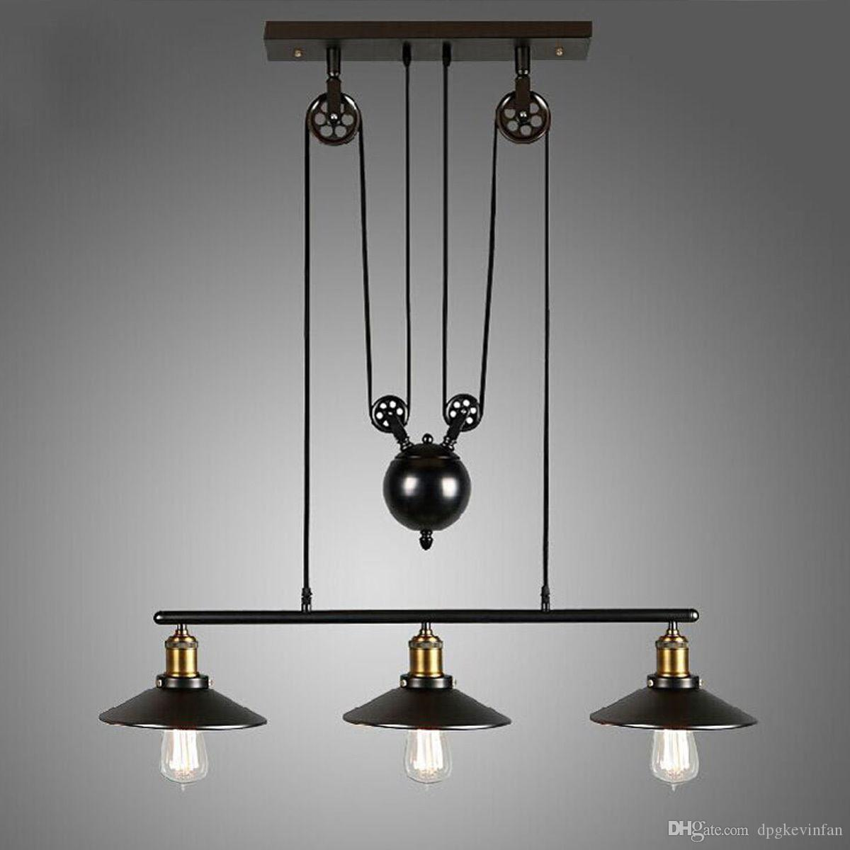 Heads Vintage Pulley Pendant Loft Ceiling Light Hanging Lamp - Kitchen light fixtures ebay