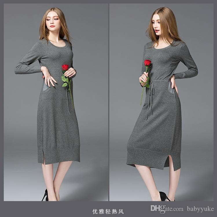 ladies Sweaters outerwear jumper pullover dress Knitted dress cashmere sweaters fashion autumn women sweater cardigans z58