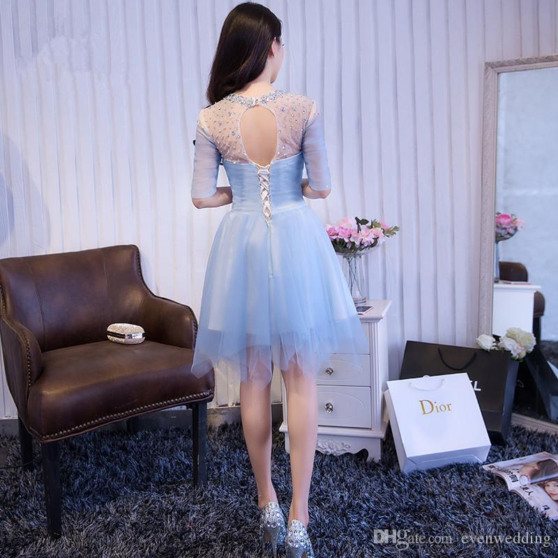 Vestidos cortos de cóctel de tul con cuentas y medias mangas 2017 Vestido largo hasta la rodilla Vestido de fiesta Vestido de fiesta corto elegante