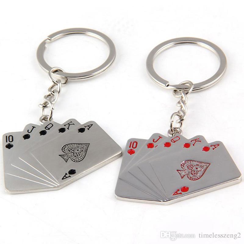 포커 플러시 키 체인 금속 크리 에이 티브 하트 스페이드 플러시 포커 키 체인 크리 에이 티브 포커 키 체인