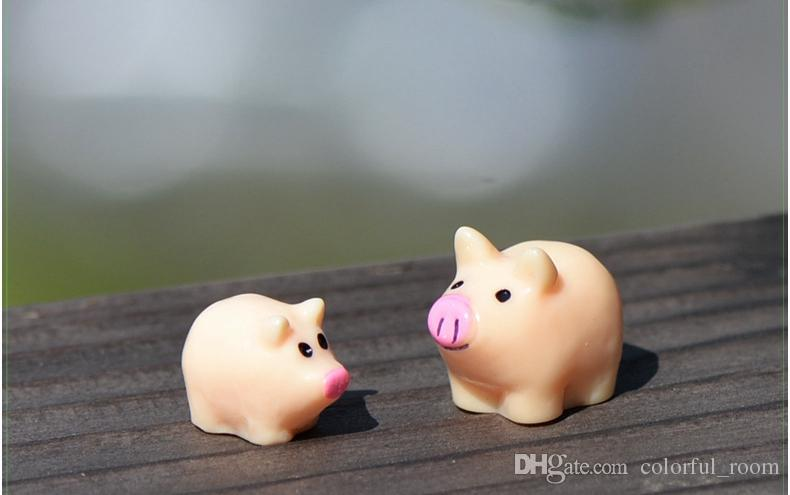 Artificial mini cute pig animals ornaments miniatures for fairy garden gnome resin crafts bonsai bottle garden decoration