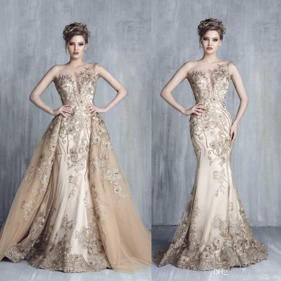 Tony Chaaya 2017 Evening Dresses With Detachable Train Champagne ...