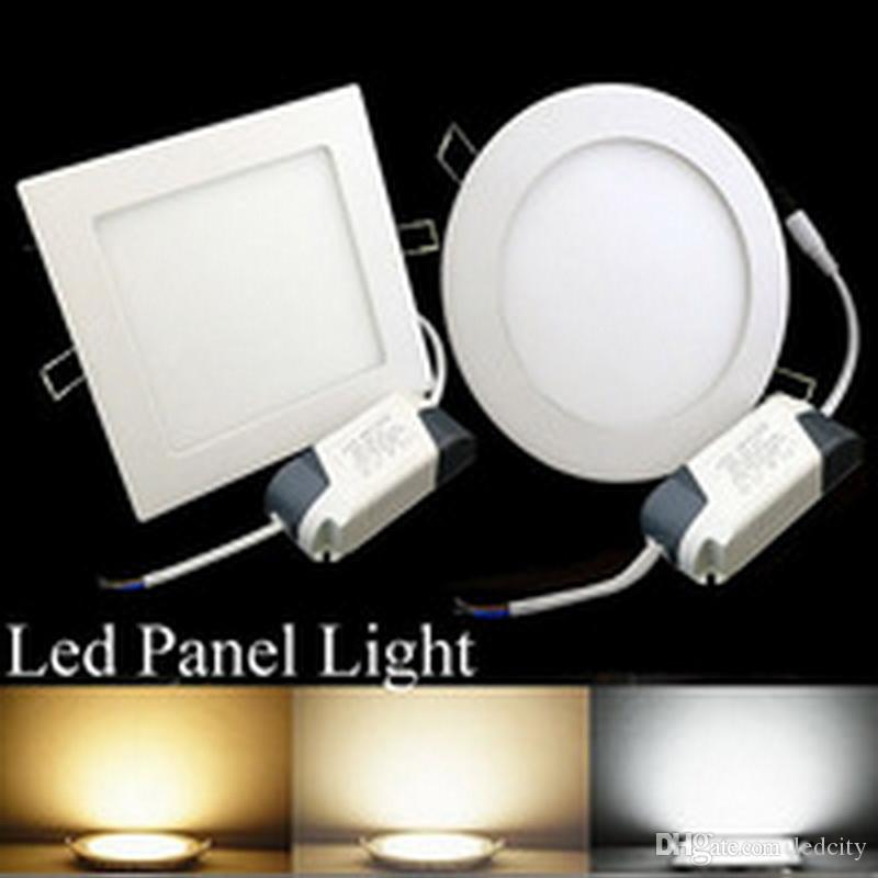 Round Square 9w 12w 15w 18w Led Panel Recessed Lights 110 240v Slim Light Cool Natrual Warm White Retail Packing Ip65 Downlight Pull Down Ceiling
