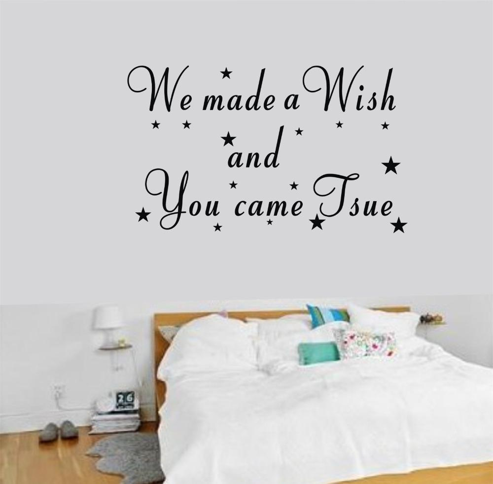 We Made A Wish Wall Sticker Kids Room Decoration Wallpaper Removable Vinyl  Decals Quotes Stickers Home Decor Star Poster Childrens Wall Sticker  Childrens ...