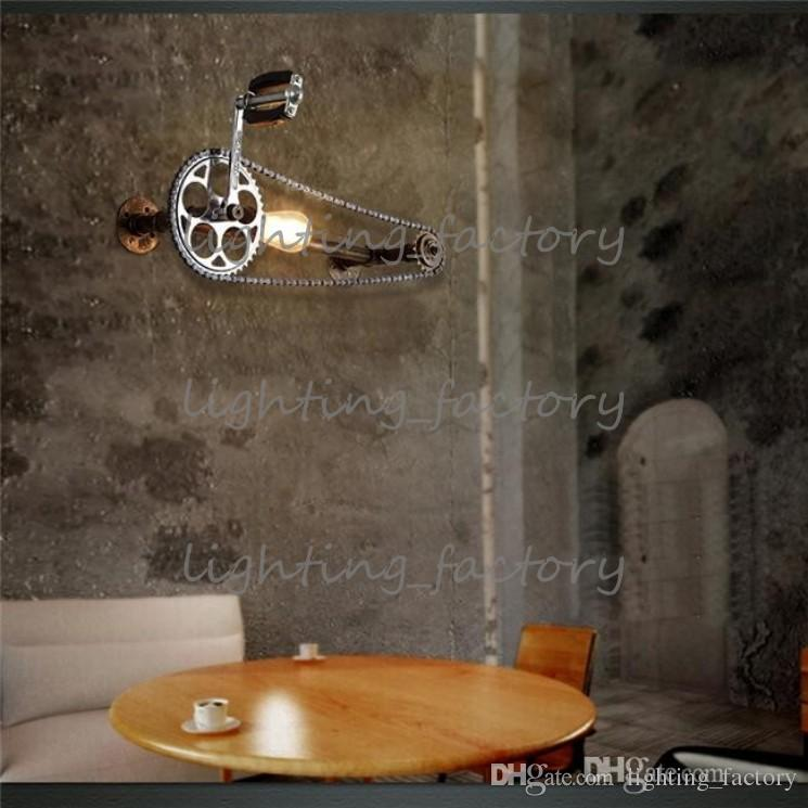 Bicycle Gear Wall Lamps Industrial Style Iron Art Wall Light Loft Cafes Corridor Retro Water Pipe Wall Lamp