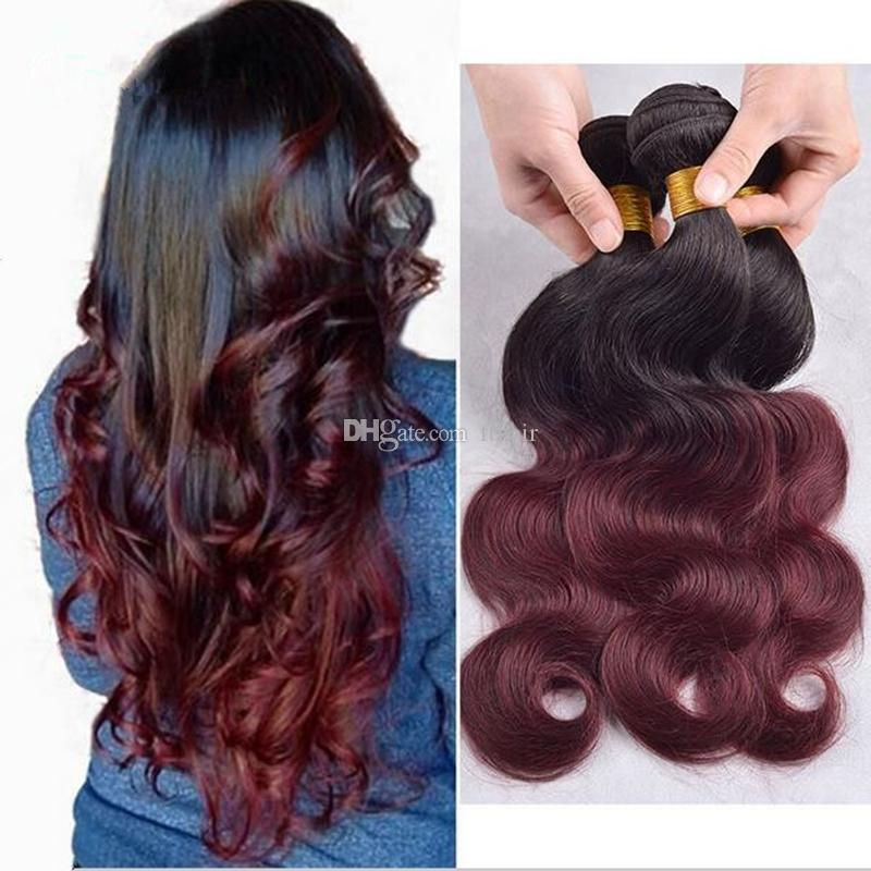 Red wine ombre hair extensions peruvian body wave human hair weave 5 pmusecretfo Gallery