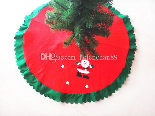 Good Quality Wave Edge Christmas Tree Dress Ornaments Non-woven Decorations Festive Party Decoration Supplies Red 50pcs/lot Drop Shipping