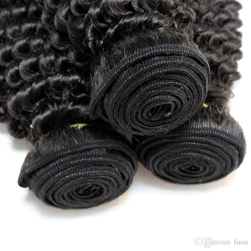 송료 무료 탑 7A 버진 몽골어 헤어 웨이프 자연 색 변태 곱슬 머리 확장 혼합 8-28inch 깊은 곱슬 머리의 머리카락 짜다