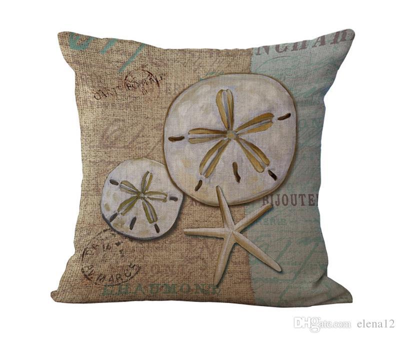 The Mediterranean Series Conch Starfish Cotton funda de almohada decorativa de Navidad almohada para silla Cojín 240439