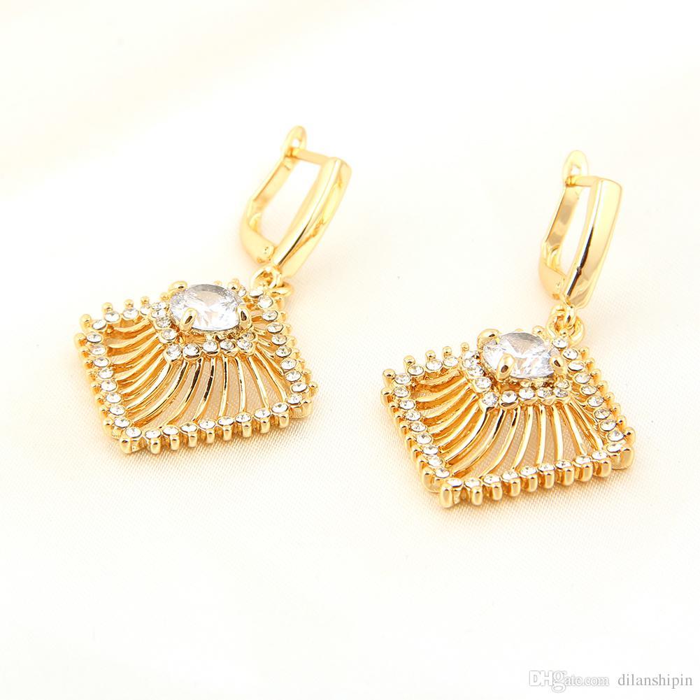 Femmes 18K / blanc plaqué or mode mariage nuptiale filles collier boucles d'oreilles ensemble cristal africain Platinum évider ensembles de bijoux