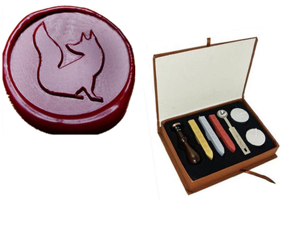 vintage cute fox wax seal stamp kit box set 3 wax 1 stamp wedding