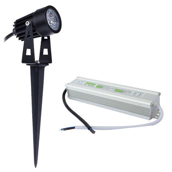 Spotlight 3W 6W 10W Cast-Aluminum LED Outdoor Lawn Paisagem Lâmpada Fixação 12V IP65 impermeável para Jardim iluminação pontual RGB + adaptador IP67