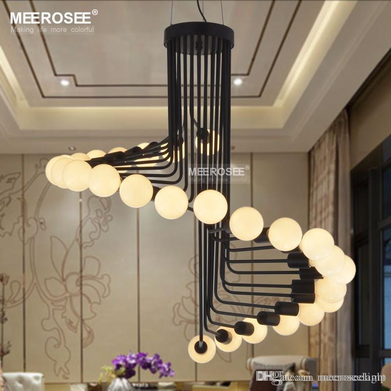 Modern Loft Industrial Chandelier Lights Bar Stair Dining Room Lighting  Retro Meerosee Chandeliers Lamps Fixtures Lustres Chandeliers On Sale  Outdoor ...