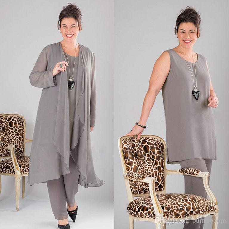 Plus Size 2019 Elegant Three Piece Mother Of Bride Dresses Scoop Neck With Jacket Floor Length Gray Chiffon Formal Prom Women Dresses Custom