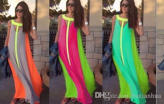 الجملة المرأة الصيف الملابس 2016 عارضة شاطئ فستان طويل اللون عقد المرقعة أكمام فساتين الملابس شحن مجاني