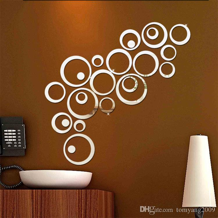 Silver Gold Cricle Wall Sticker Happy Mirror Ring Real Modern Acrylic Mirror 3D Wall Stickers Promotion Home Decoration Background Decor 20
