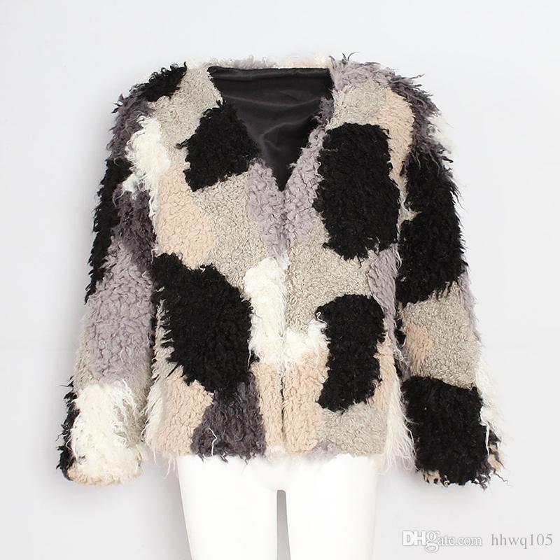 New Color-Block Wool Blend Coat For Women Long Sleeve V-Neck Faux Fur Short Jacket Girls Punk Outwear Autumn Winter Casual Overcoat CJG1020