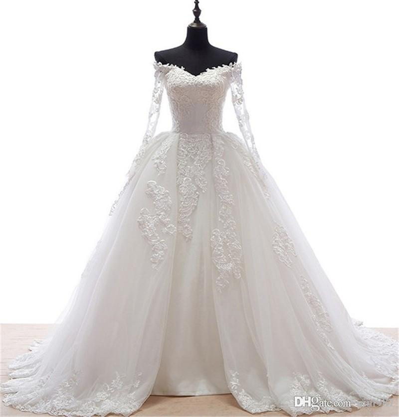 Real Sample Vintage Long Sleeve Wedding Gowns 2017 High Quality
